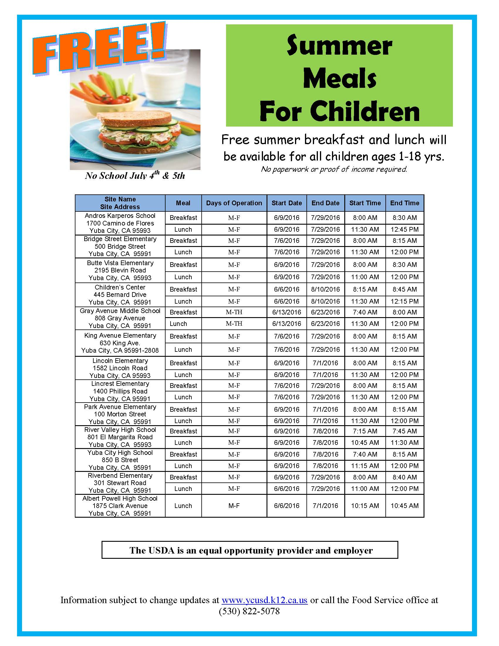 Summer free food poster YCUSD 2016