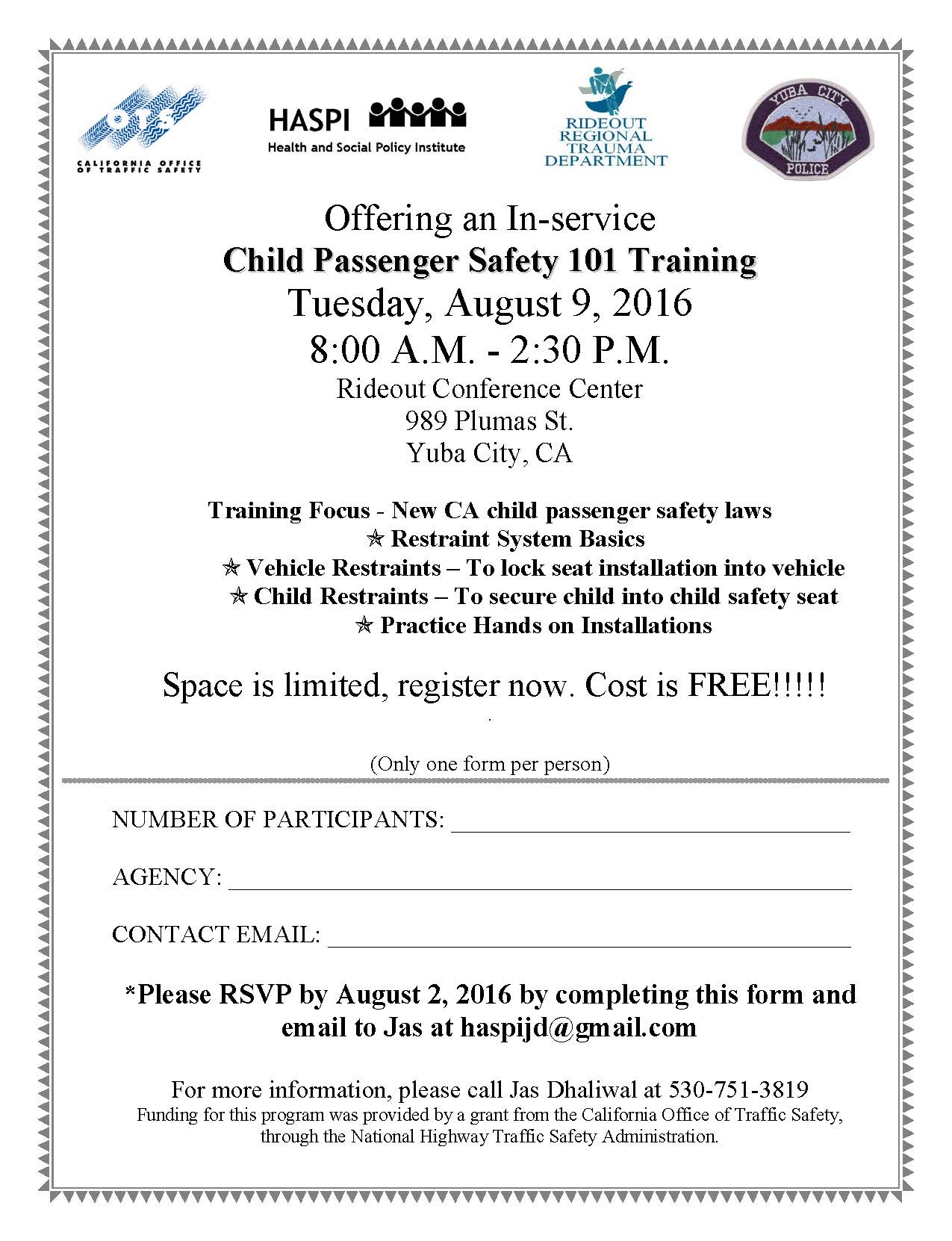 Car Seat August 9 2016 101 training