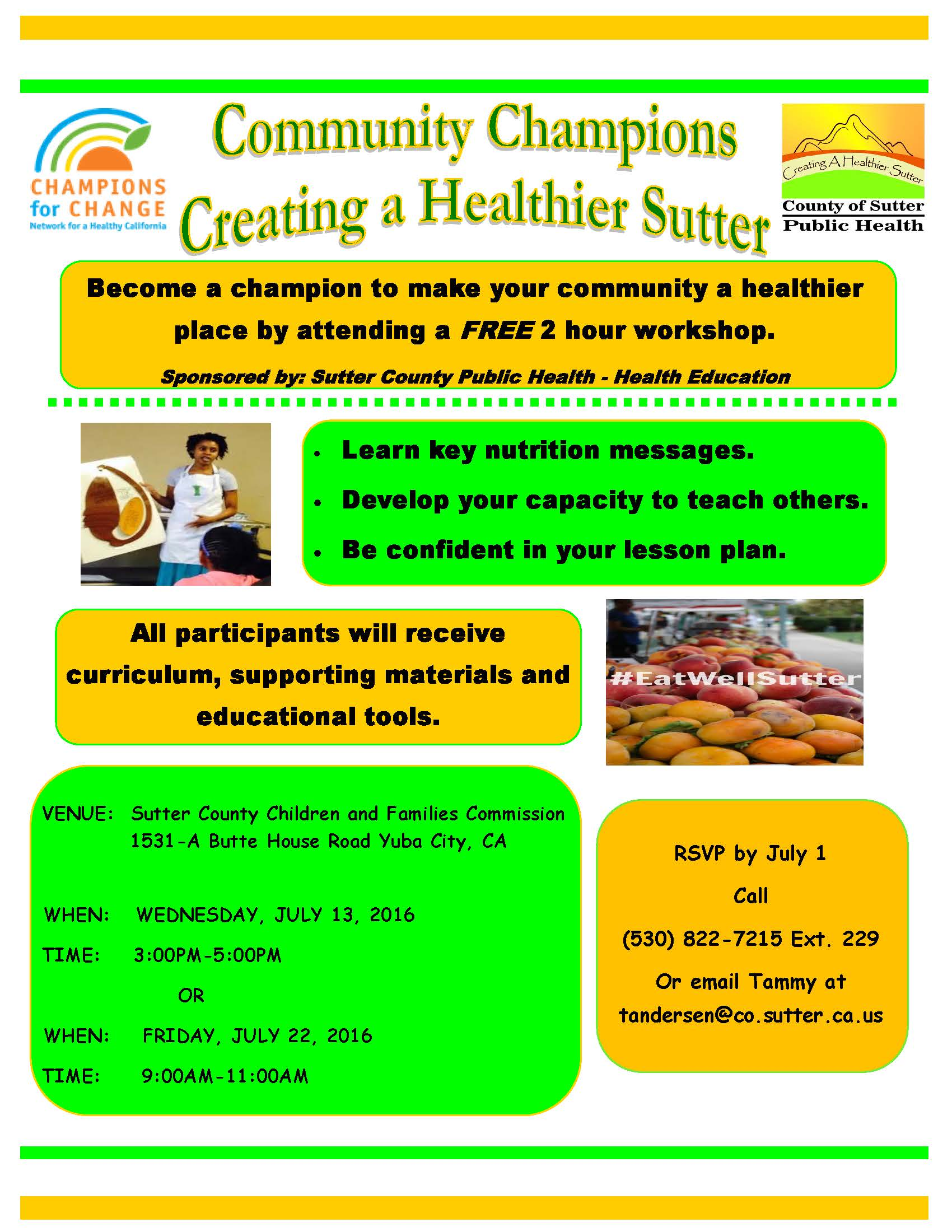 Community Champions Creating a Healthier Sutter Flyer