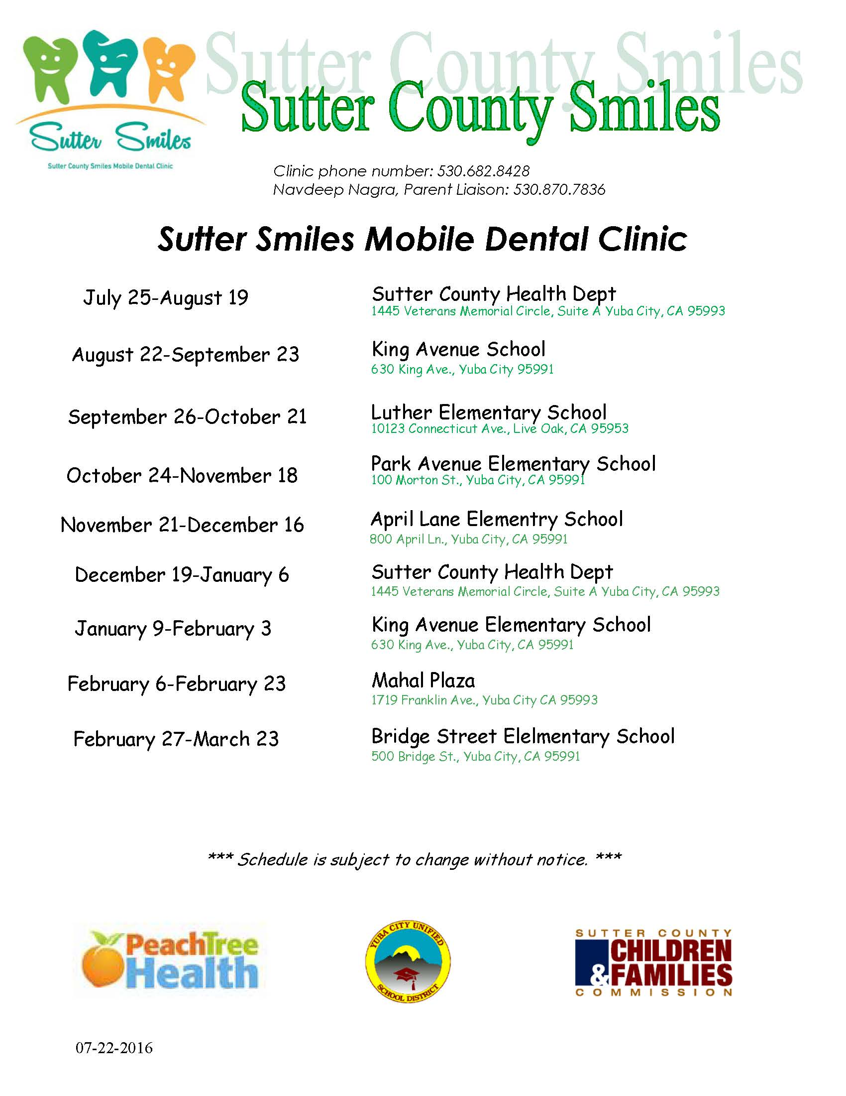 2016 Sutter Smiles Schedule