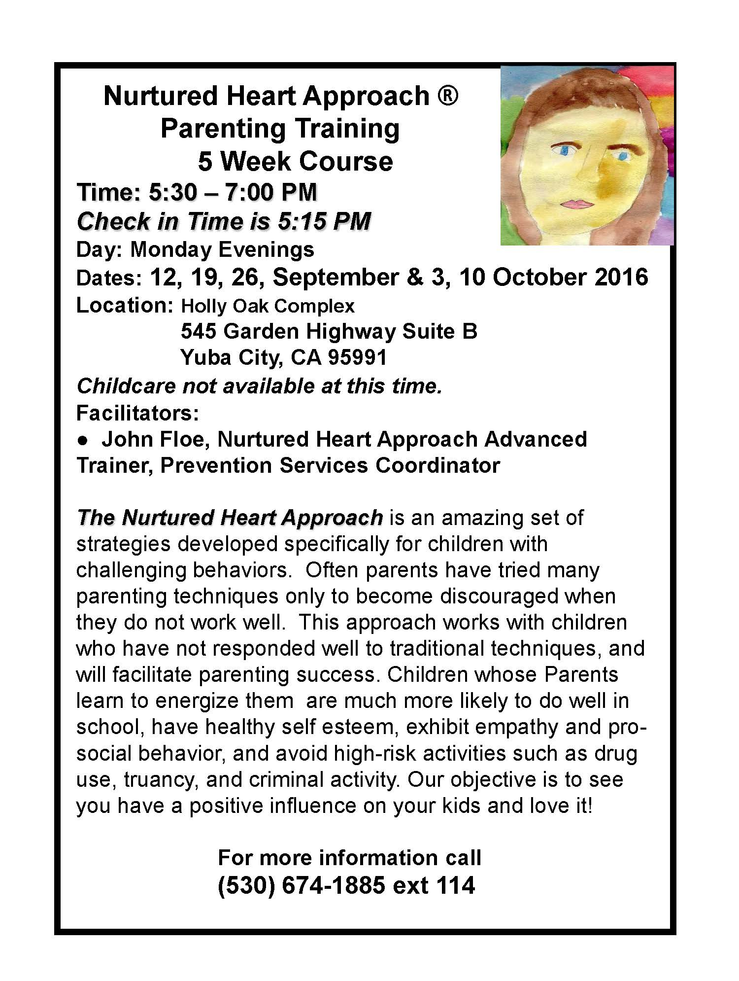 Parents NHA Training Flyer  Referral Form September - October 2016