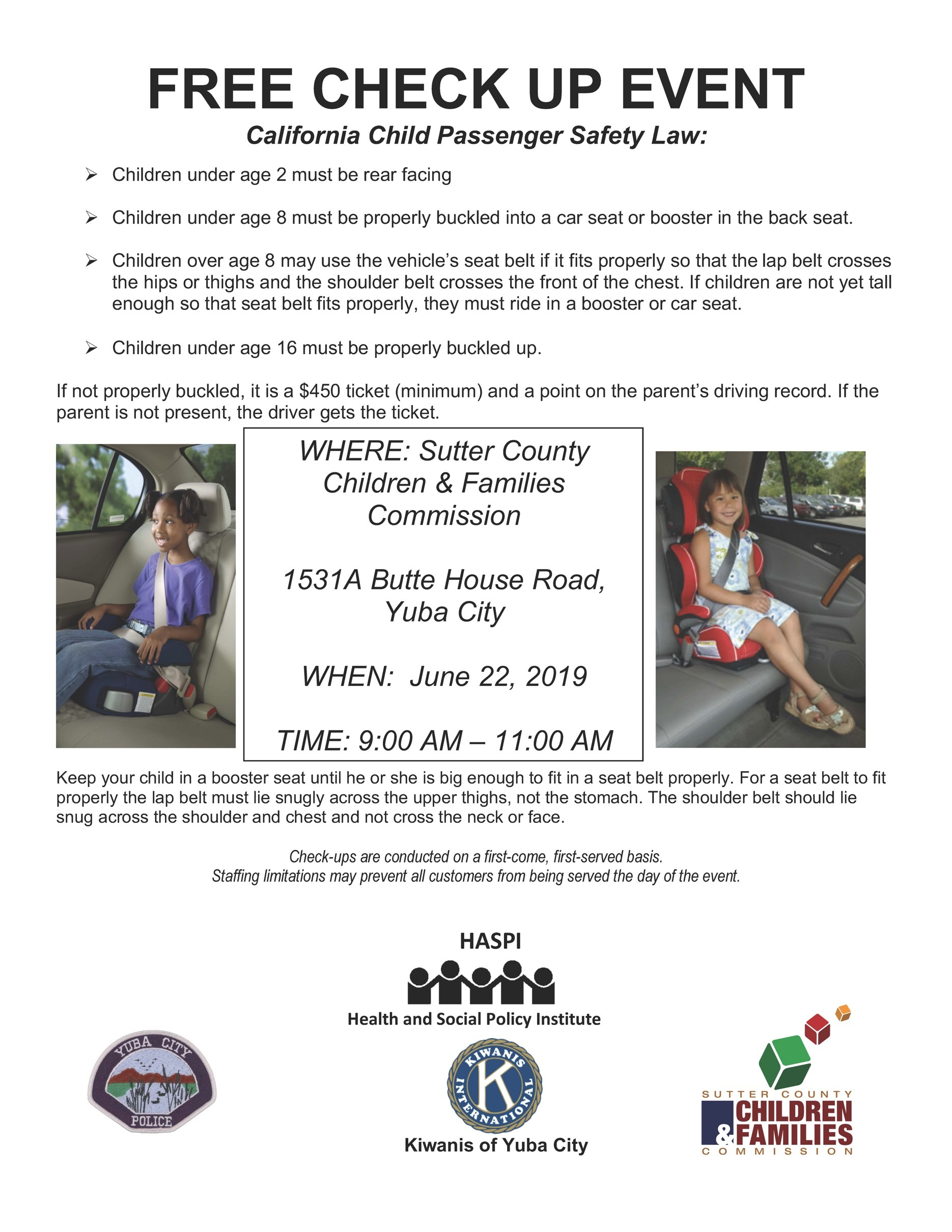 Free Car Seat Check Up Event Sutter County Children Families